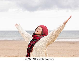 vrouw, kleding, warme, stretching