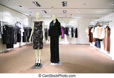 vrouw, kleren, in, winkel