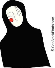 vrouw, kleur, illustratie, spotprent, vector, black , of