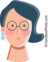 vrouw, kleur, illustratie, vector, zwarte jurk, of, formeel