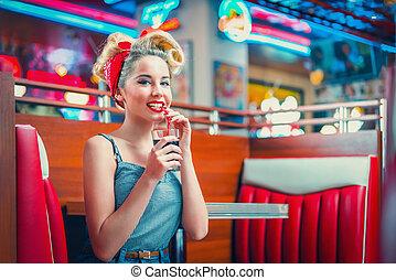 vrouw, koffiehuis, retro