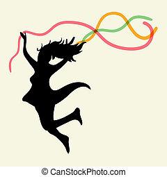 vrouw, kosteloos, dancing