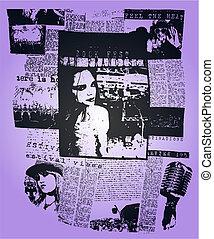 vrouw, krant, poster, klapen kunst, ontwerp