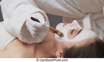 vrouw, krijgen, gezicht, mooi, salon, spa, masker