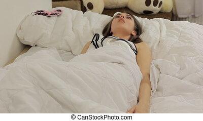 vrouw, krijgen, veroorzaakte, nachtmerrie, slapeloosheid, ...