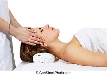 vrouw, krijgen, voer massage aan