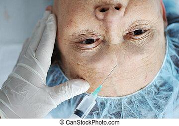 vrouw, krijgen, ziekenhuis, injectie, botox, senior