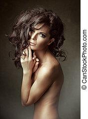 vrouw, krullend, lang, portrait., hair., sensueel