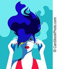 vrouw, kunst, beeld, knallen, vector, style.