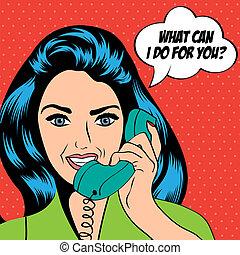 vrouw, kunst, kletsende, illustratie, knallen, telefoon