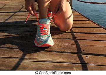 vrouw, kust, jonge, spoor te lopen, fitness, benen, ...