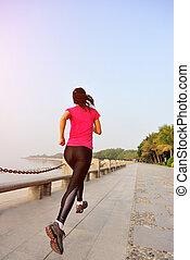 vrouw, kust, uitvoeren, fitness
