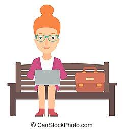 vrouw, laptop., werkende