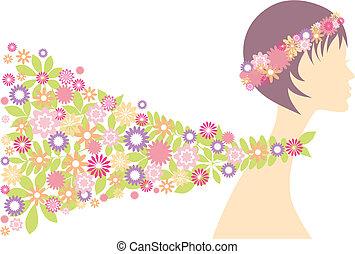 vrouw, lente