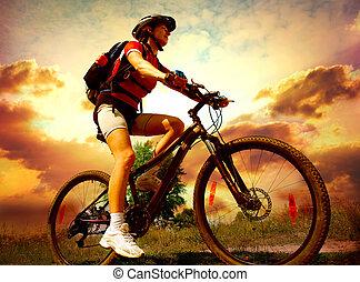 vrouw, levensstijl, gezonde , jonge, paardrijden, buitenkant., fiets, vrolijke