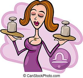 vrouw, libra, spotprent, illustratie, meldingsbord