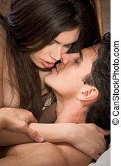 vrouw, liefde, jonge, naakt, kussende , man