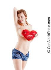 vrouw, liefde, -, topless, meldingsbord, sexy, u