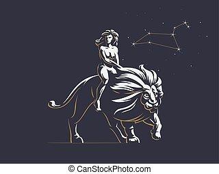 vrouw, lion., leo., meldingsbord, paardrijden, zodiac
