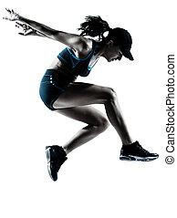 vrouw, loper, jogger, springt