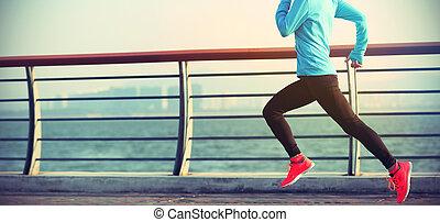 vrouw, loper, kust, jonge, rennende , fitness