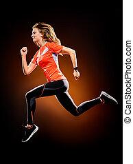vrouw, loper, rennende , vrijstaand, jogger, jogging