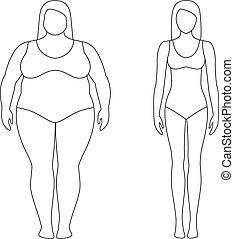 vrouw, loss., gewicht, body., succesvolle , concept., na, contoured, illustratie, girls., dieet, vrouwlijk, dik, sportende, slank, voor
