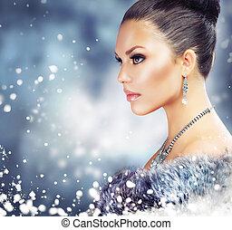 vrouw, luxe, winter jas, vacht