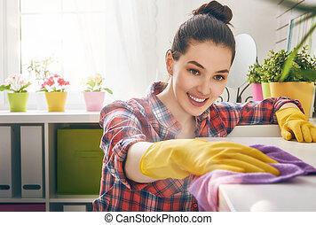 vrouw, maakt, poetsen