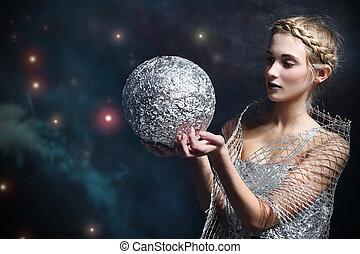 vrouw, magisch, zilveren kogel
