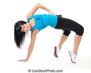 vrouw, maken, flexibiliteit, oefening