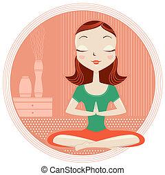 vrouw, maniertjes, lotus, yoga