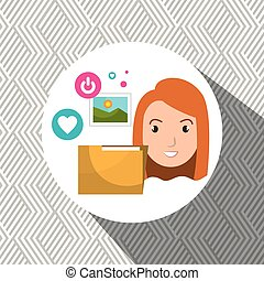 vrouw, map, foto, web