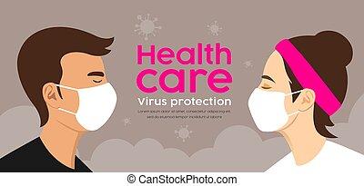 vrouw, masker, bescherming, virus, care, man, gezondheid, ontwerp