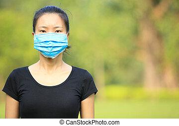 vrouw, masker, buiten, gezicht, aziaat, slijtage