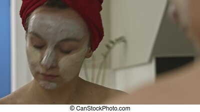 vrouw, masker, reflectie, gezicht