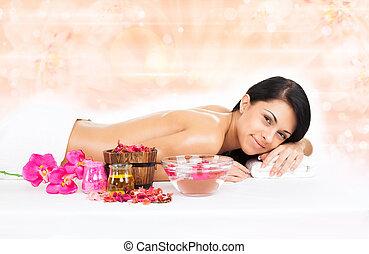 vrouw, masseren