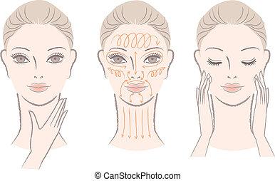 vrouw, masserende handen, haar, gezicht, en, hals