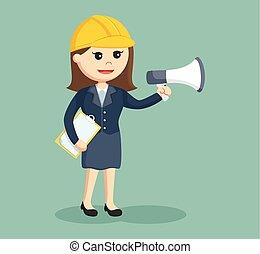 vrouw, megafoon, ingenieur
