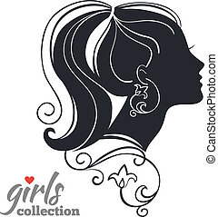 vrouw, meiden, verzameling, flowers., silhouette, mooi