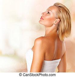 vrouw meisje, beauty, portrait., jonge, baddoek, spa, bad, mooi