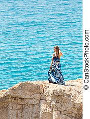 vrouw meisje, nature., beauty, kosteloos, vrolijke , outdoor., vrijheid, concept., het genieten van