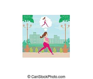 vrouw meisje, zijn, magere, jogging, dromen, jonge, dik
