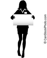 vrouw, meldingsbord, label, naam, zakelijk, silhouette