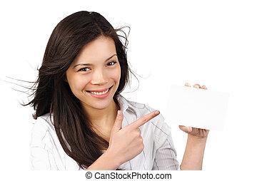 vrouw, /, meldingsbord, papier, vasthouden, leeg, kaart