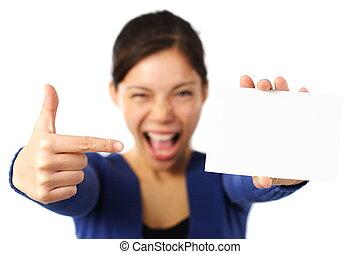 vrouw, /, meldingsbord, vasthouden, leeg, witte , kaart