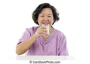 vrouw, melk, volwassene, soy, senior, drinkt