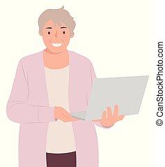 vrouw, mensen, draagbare computer, karakter, computer, ontwerp, vasthouden, senior, spotprent
