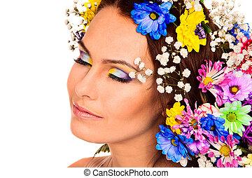 vrouw, met, bloem, en, butterfly.