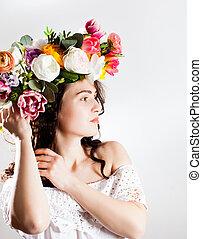 vrouw, met, bloem, krans